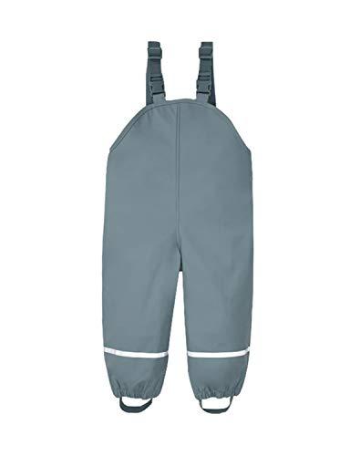 PIZOFF Unisex Kinder Regenlatzhose, Wind- und wasserdichte Textilfutter Matschhose mit Inner Fleece gefüttert Regenhose Grau L