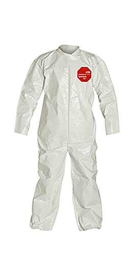 DuPont Tychem 4000 Disposable Chemical Resistant Coverall with Open Cuff, White, 4X-Large, 12-Pack