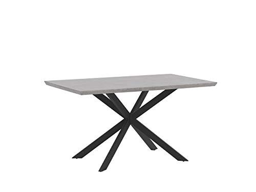 Einzigartiger Esstisch in Betonoptik mit schwarzen Beinen 140 x 80 cm Spectra