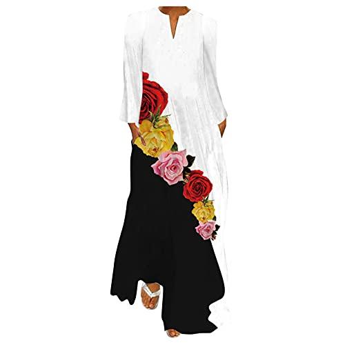 ERNUMK Vestido maxi informal y elegante, de manga larga con bolsillos, elegante, estilo boho, suelto, de verano para mujer., C-rojo., L