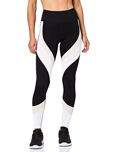 Aurique Leggings deportivos para Mujer, Negro/Carmín/Blanco, XS