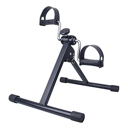 Ejercitador de pedal plegable, mini bicicleta estática con resistencia ajustable, Entrenador de Pies y Manos para gimnasio en casa/Black/A