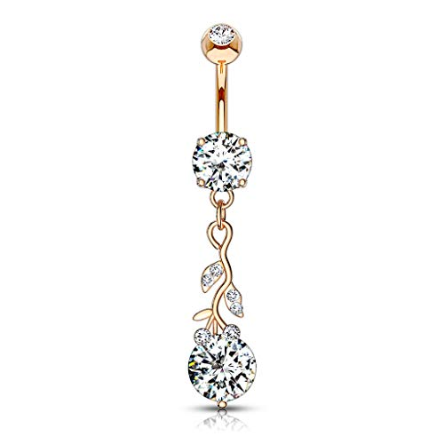 Pierced Owl CZ Crystal Gemmed Vine and Leaves Dangling Belly Button Ring (Rose Gold Tone)
