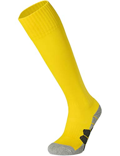 APTESOL Youth Cushion Soccer Socks Knee High Multiple Sizes/Color Team Soprt Socks for Boys Girls Men Women [1-Pack Yellow,S]