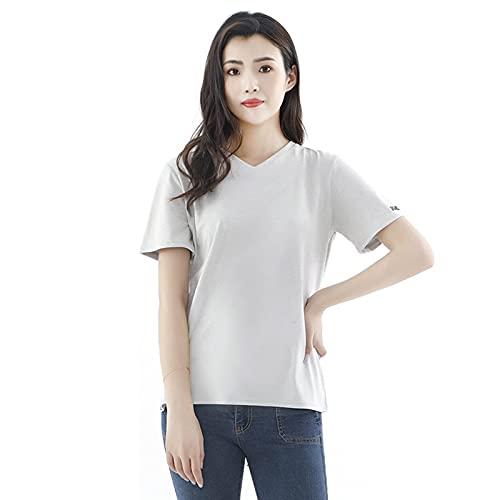 MOZHANG Camisetas con Cuello en V de Blindaje EMF/RF para Mujer, Vestido de Maternidad Anti-radiación, Material 100% de algodón de Fibra de Plata (Color : S|Grey)