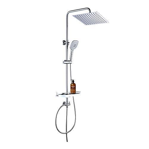 JOHO Conjunto de ducha Sistema de ducha de lluvia Columna de ducha de acero inoxidable con estante(20 * 20 cuadrado)