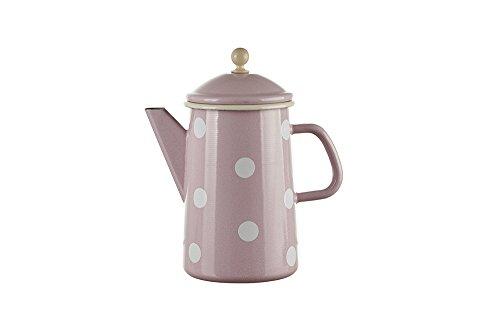 Münder Emaille - Kaffeekanne, Teekanne - Kanne - Emaile - 1,6 Liter - Farbe: Rosa mit weißen Punkten