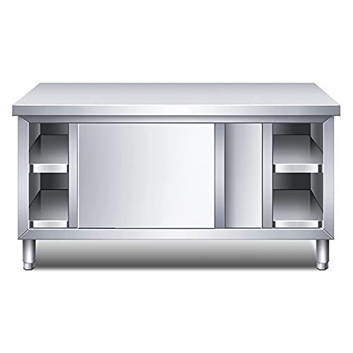 MNSSRN Preparación de Mesa de Acero Inoxidable Cocina Banco de Trabajo, Banco de Alimentos con Puertas correderas, Consolas de restaurantes,80 * 60 * 80cm