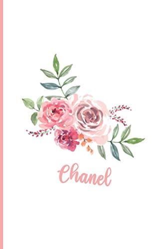 Chanel: Personalisiertes A5-Notizbuch, Blumenmaskenabdeckung, rosa Blumen-Namensheft, universelles Notizbuch mit Namen, 120 Seiten, Tagebuch, Regel, ... Weihnachts- und Geburtstagsgeschenk