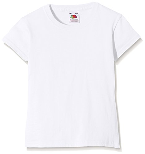 Fruit of the Loom Mädchen Valueweight T-Shirt, Weiß, Gr. 9-11 Jahre (140 cm)