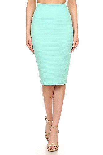 MissMissy Womens Business Office Casual Stretch High Waist Solid Print Pencil Skirt Q1021-2 (Solid_Aqua, Large)