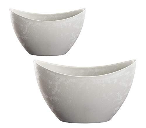Kunststoffschale 2er Set grau - Deko Blumen Schale in Beton Optik - Pflanzschale