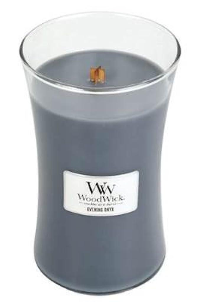 プロペラスチュワーデス煩わしいイブニングオニキスWoodWick 22?oz Large砂時計Jar Candle Burns 180時間
