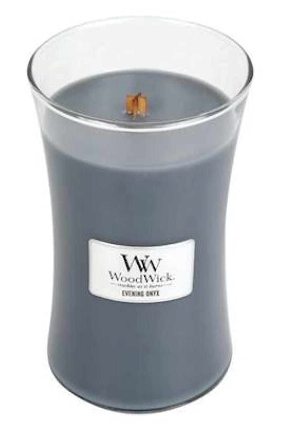 雪だるま一瞬航空便イブニングオニキスWoodWick 22?oz Large砂時計Jar Candle Burns 180時間