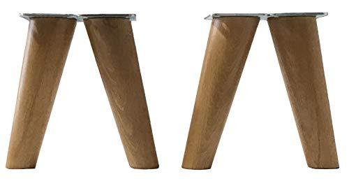 patas para muebles de madera. Patas inclinadas cónicas con placa de montaje ya instalada patas de madera para sofas mesitas armarios 15 cm alto (Roble)