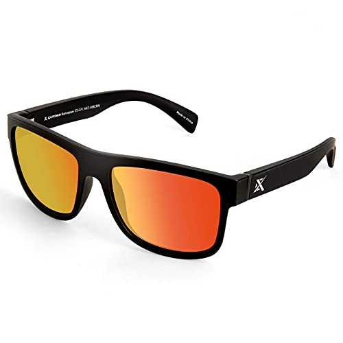 Extremus Kennesaw Polarized Sport Sunglasses for Men and Women, Matte Black Frame, Copper Base Red Mirror
