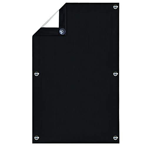 Greatime 100% Lichtundurchlässig Gardinen mit Saugnäpfen Verdunkelungsvorhang, Isolierung für Velux Dachfenster(Schwarz 76x93 cm)