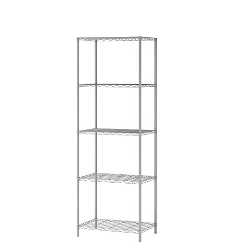 "HOMEFORT 5-Tier Wire Shelving 5 Shelves Unit Metal Storage Rack Durable Organizer Perfect for Pantry Closet Kitchen Laundry Organization in Grey,21""Wx14""Dx61""H"