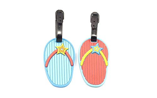 1x Flip Flop Rubber Travel Luggage Id Tag Design at Random