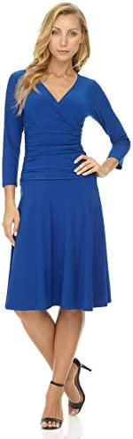 Rekucci Women s Slimming 3 4 Sleeve Fit and Flare Crossover Tummy Control Dress Sapphire product image