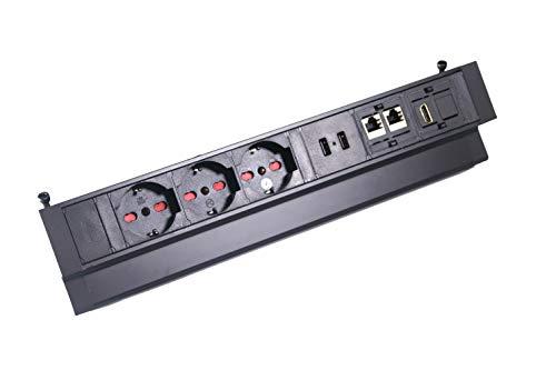 Elbe Inno Multipresa ciabatta elettrica con 3 Prese ITALIANE, 2 RJ45, HDMI, presa multipla ciabatta con Usb, multipresa ciabatta con protezione,Fissaggio con supporto,Ideale per ufficio,scrivania