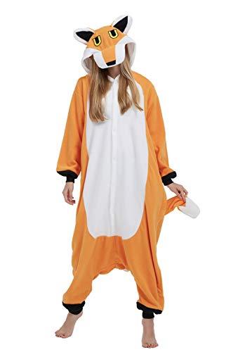 DELEY Unisexo Adulto Caliente Animal Pijamas Cosplay Disfraz Homewear Mamelucos Ropa De Dormir Zorro-2 S