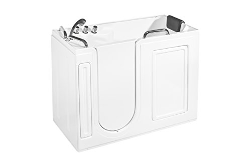 Empava 52.5 in. Acrylic Walk-in Tub Freestanding Soaking SPA Left Side Door Bathtub, WT0373, White