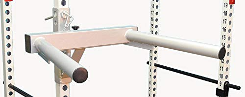 """TDS Mega Dipping Attachment for Power Squat Racks with 2"""" Dia Professionally Knurled Handles. Designed to fit on Power Racks Made with 2"""" sq. Tubes and 1"""" Holes."""