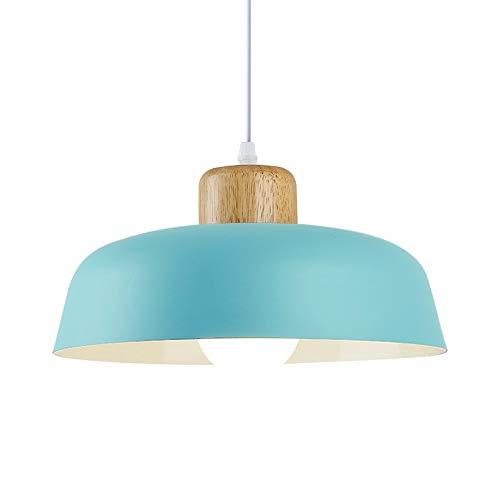 HJXDtech Luz colgante de metal redonda simple moderna nórdica,Lámpara de techo grande con acabado de madera E27 para salón de dormitorio de cocina (Azul)