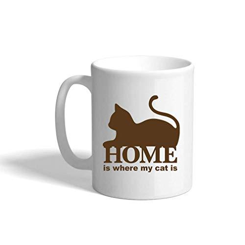 Brown Home is waar mijn kat is keramische koffiebeker witte mok