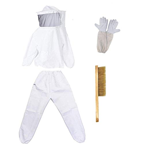 Beekeeping Supplies Suit, Bee Keeper Jacket Veil Suit & Gloves and Bee Hive Brush