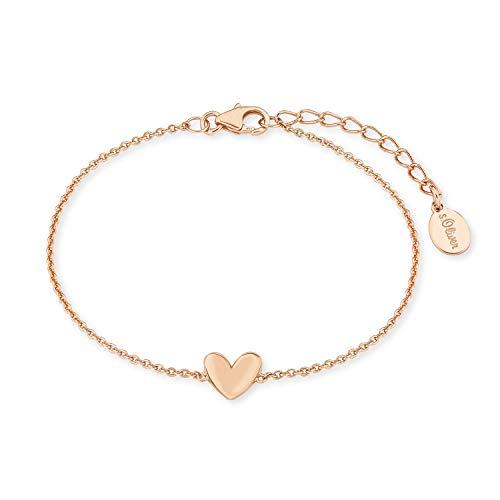 s.Oliver Armkette für Damen Herz, 925er Sterling Silber rosévergoldet