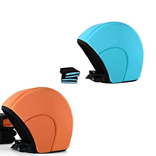 2 Conjunto de gorra flotante de natación con cinturón, casco de natación, sombrero de buoyancias de neoprenos para principiantes, cabello largo y corto, adecuado para jóvenes adultos mujeres hombres n