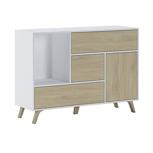 SelectionHome - Mueble Aparador Salon Comedor 1 Puerta y 3 cajones, Buffet, modelo Wind, color Blanco y Puccini, Medidas: 120 cm (largo) x 40 cm (fondo) x 85,6 cm (alto)