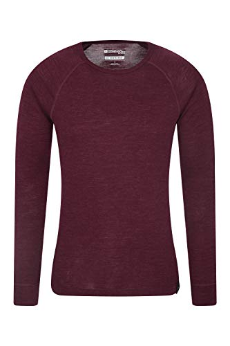 Mountain Warehouse Merino Langarm Baselayer-Thermotop für Herren - Leichtes T-Shirt, warm, antibakteriell, schnelltrocknend - Ideal bei kaltem Wetter Winter Baselayer Burgundrot Large