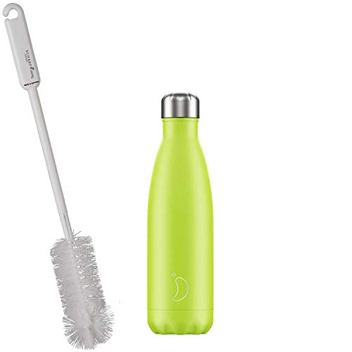 CHILLYs Water Bottle & Insulated Flask 500 ml Popcicle Lemon & Lime Green/Yellow Bottle - Stainless Steel Thermos Water Bottle - Bottle Keeps Cold for 24 Hours & Hot for 12 Hours + Sharp Bottle Brush