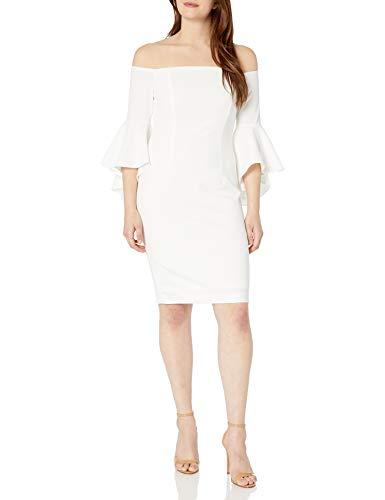 Calvin Klein Women's One Shoulder Solid Sheath Dress, Cream, 12