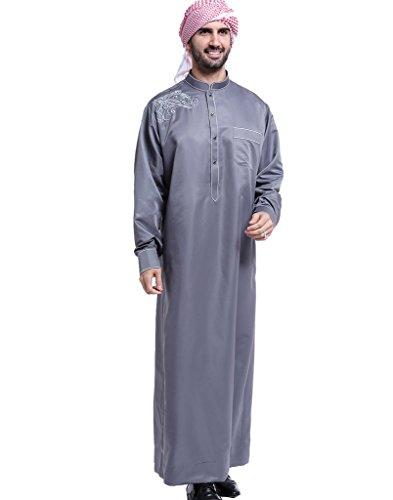 GladThink Hommes Arabe Musulman Thobe avec Manches Longues Mandarin Col