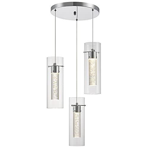ZHLWIN Pendant Ceiling Light Fixture for Kitchen Island, Integrated LED Hanging Light with Crystal Bubble Glass 36W, 4000K Neutral White Light for Kitchen, Restaurant, Dining Room(3 Light)