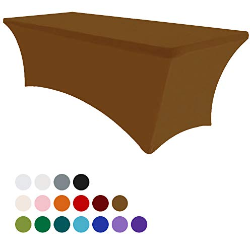 Eurmax 8Ft Rectangular Fitted Spandex Tablecloths Wedding Party Table Covers Event Stretchable Tablecloth (Cocoa)