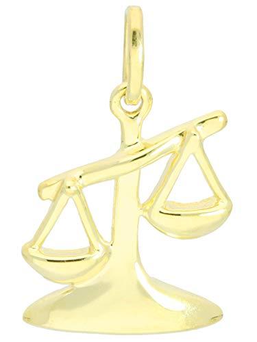 Waage Anhänger (Ohne Kette) Gelbgold 585 Gold (14 Karat) Mini 18mm x 10mm Klein Sternzeichen Goldanhänger Kettenanhänger Majestico A-06006-G401-Waa