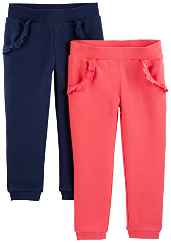 Simple Joys by Carter's 2-pack Pull on Fleece Pants Casual, Pink/Navy, 2T,...