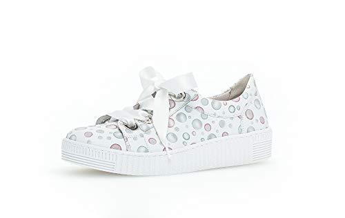 Gabor Damen Sneaker, Frauen Low-Top Sneaker,Best Fitting,Optifit- Wechselfußbett, elegant Women's Woman Freizeit leger,Weiss/Pastell,38.5 EU / 5.5 UK