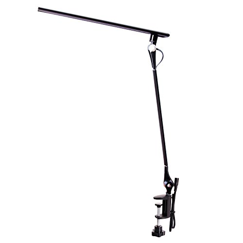 Amzrozky Drafting Table Lamp,Metal Architect LED Desk Lamp, Swing Arm Task Lamp with Clamp,Eye-Care Dimmable Office Light with 5 Color 5 Brightness,Touch Control,Memory Function,12W,Black