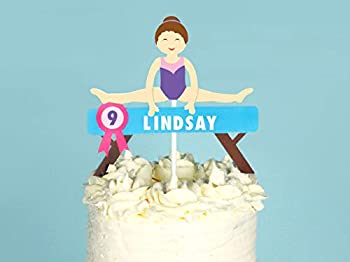 Gymnastics - Custom Name Cake Topper   Gymnastics Birthday Party Decor   Gymnast Name Cake Topper   Gymnastics Custom Name Topper   Girls Birthday Party