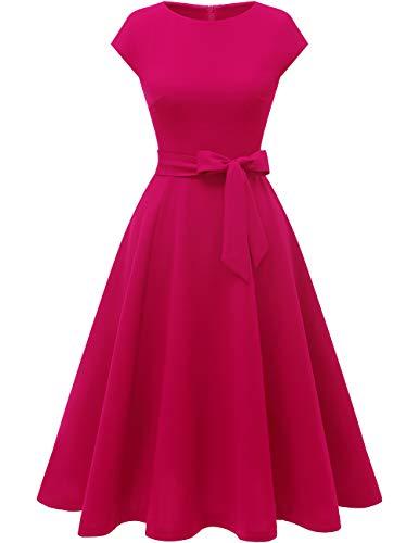 DRESSTELLS Damen Konfirmationskleider Knielang 1950er Vintage Retro Rockabilly Kleid Damen elegant Hochzeit Cocktailkleid Rose M