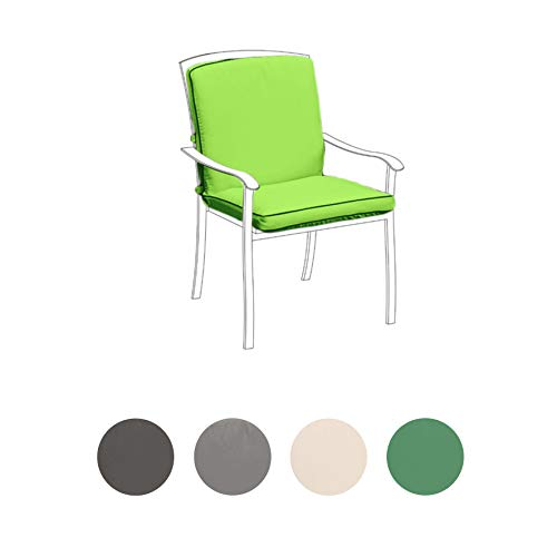 Gardenista Garden Premium Chair Seat Pad | Water Resistant Material | Hypoallergenic Fibre Filling | Outdoor Indoor Seating Cushion | Made In The UK (Lime)