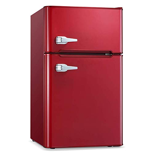 Compact Mini Refrigerator Separate Freezer, Small Fridge Double 2-Door Adjustable Removable Retro Stainless Steel Shelves Garage Camper Basement/Dorm/Office 3.2 cu ft.Black-Red