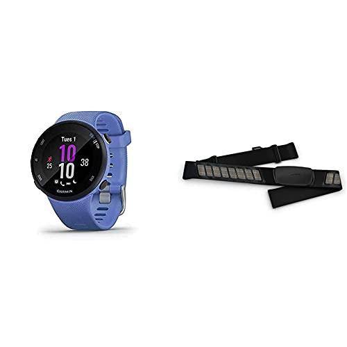 Garmin Forerunner 45S – GPS-Laufuhr im schlanken Design mit umfangreichen Lauffunktionen & Premium-Herzfrequenz-Brustgurt Dual Basic, Herzfrequenzdaten in Echtzeit via Bluetooth