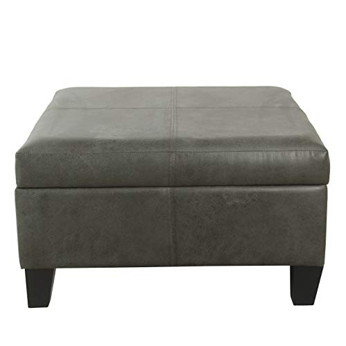 HomePop Faux Leather Square Storage Ottoman Coffee Table with Wood Legs
